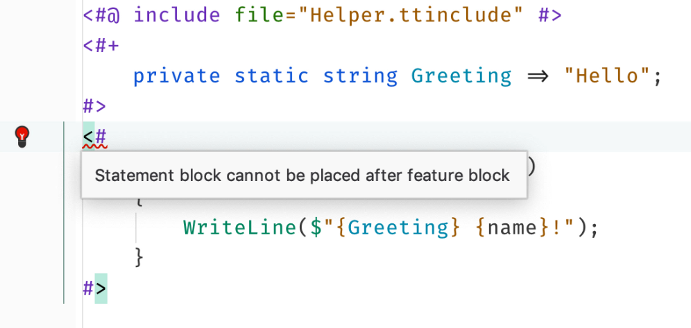 Reordering blocks in T4 text templates