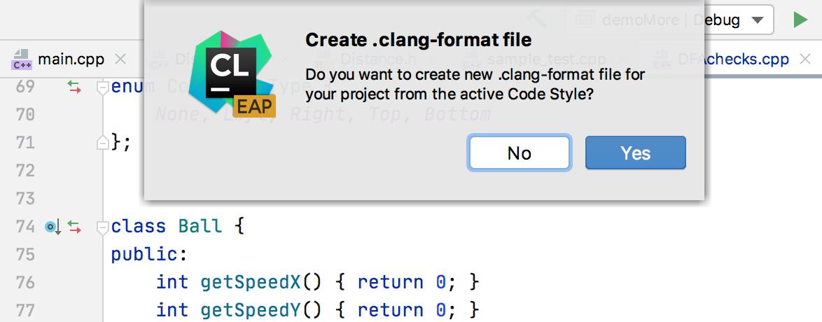 ClangFormat config creation
