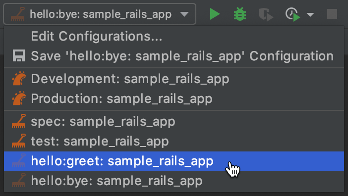 Run/debug configurations for Rake tasks