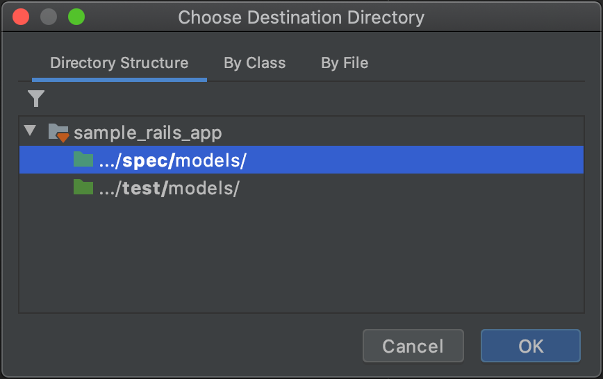 Choose Destination Directory dialog