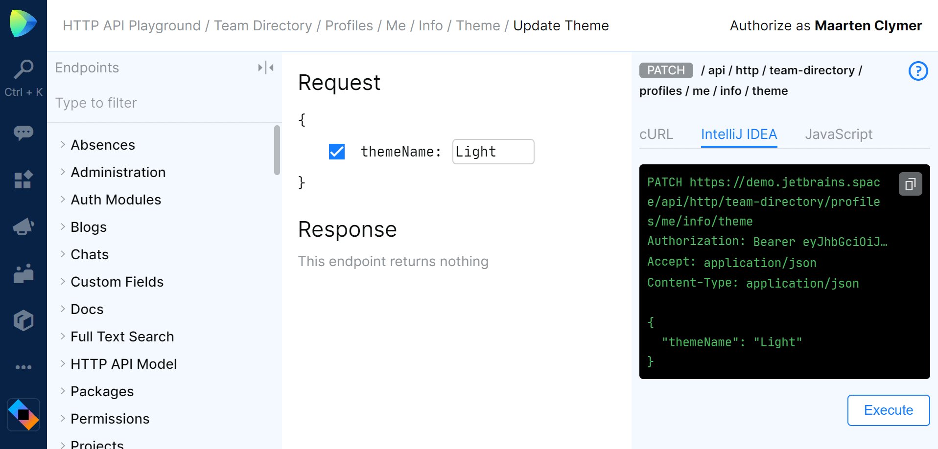 HTTP API playground is available in every JetBrains Space organization