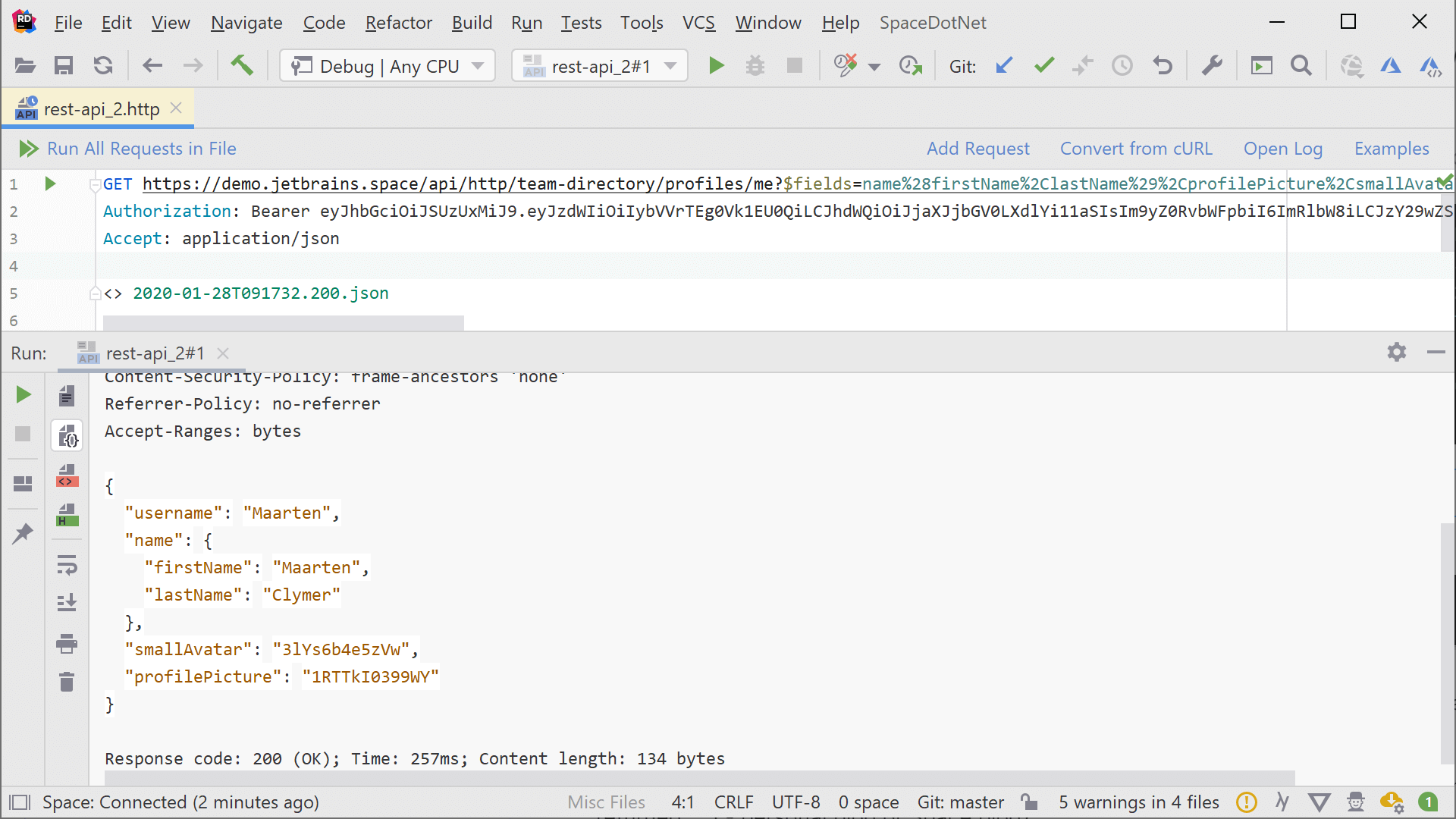 Invoke Space HTTP API from within Rider and other IntelliJ IDEA-based IDE's