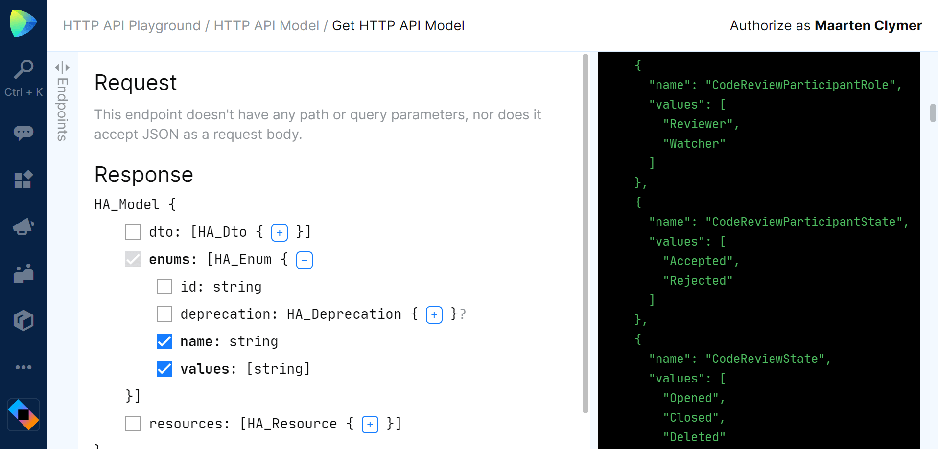 HTTP API metadata returned from Space API