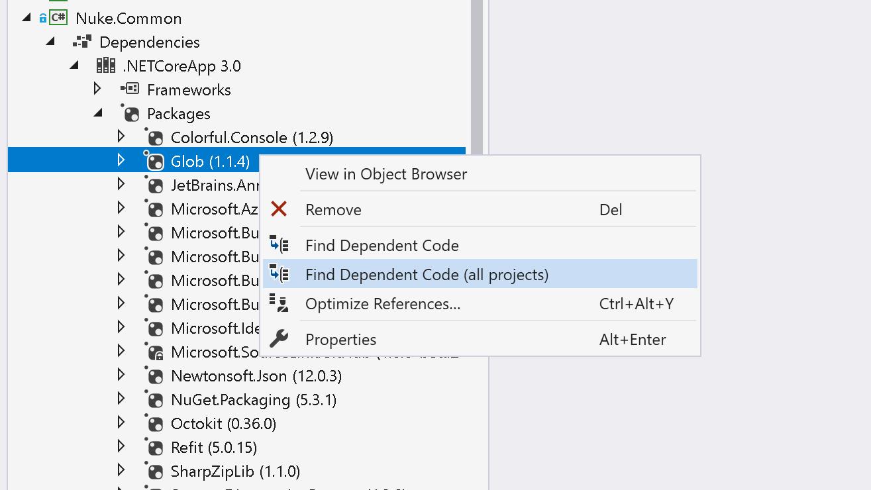 Find dependent code for NuGet packages