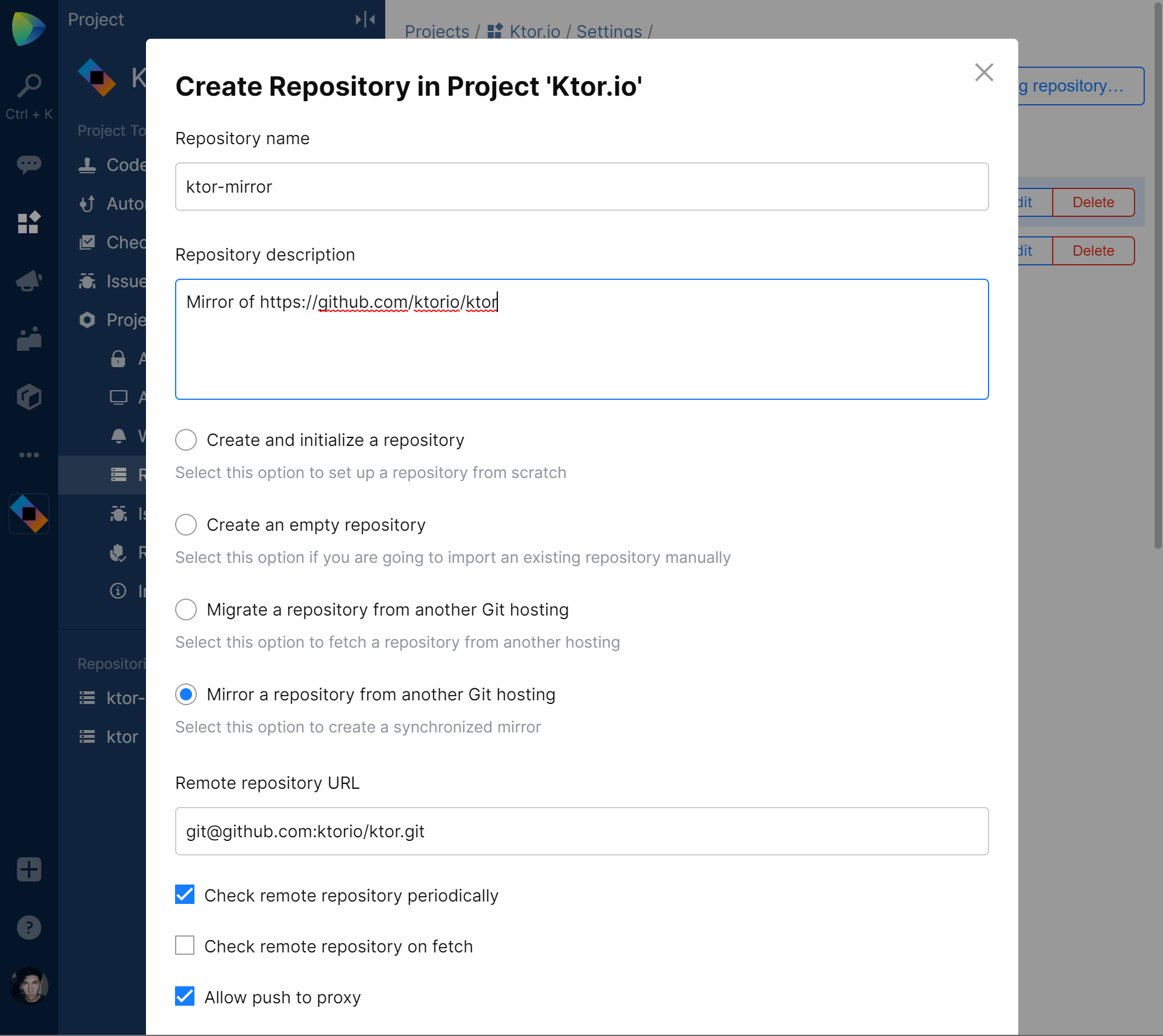 Setting up repository in Space to mirror a project from GitHub