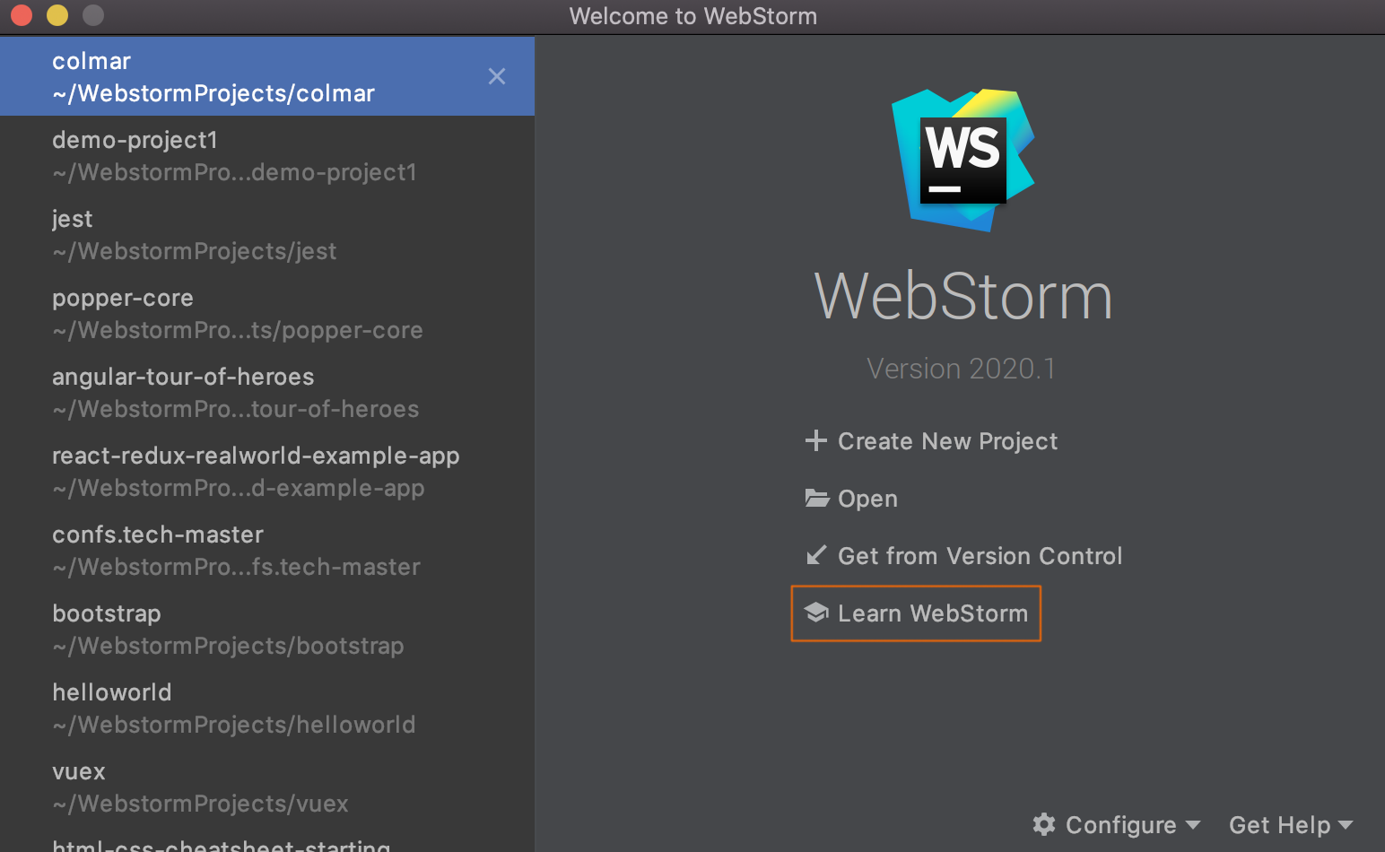 welcome-screen-with-learn-webstorm