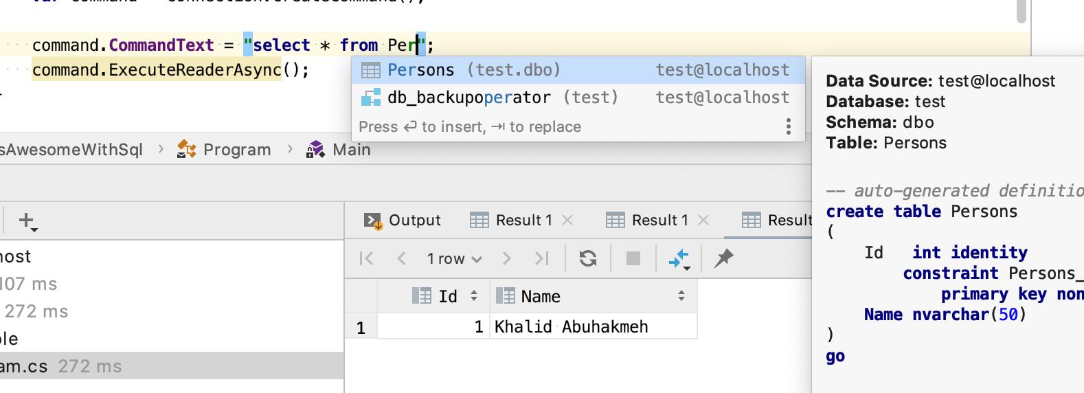 SQL autocomplete in C#