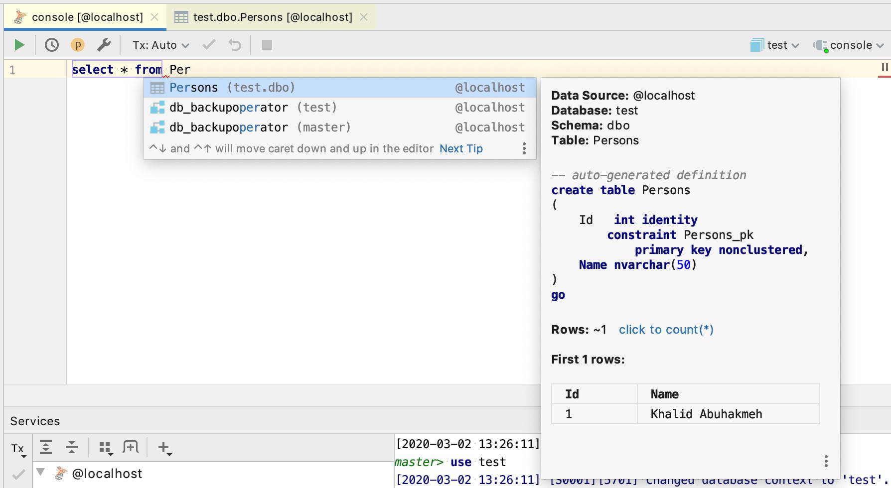 SQL Console help dialog