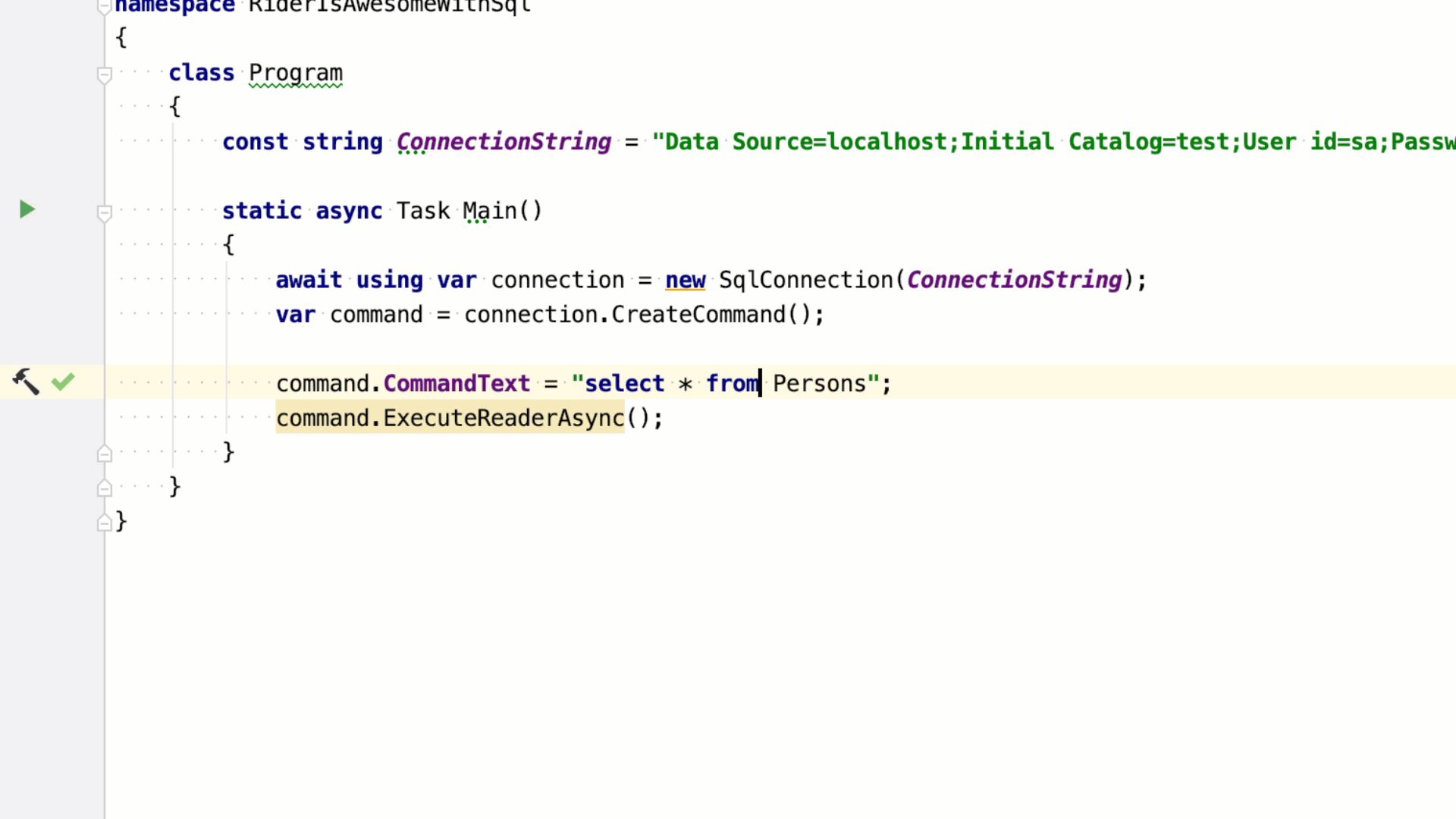 C# SQL execute in Console