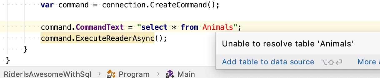 SQL error in our C#