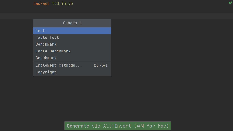 TDD in GoLand - 01 - generate menu