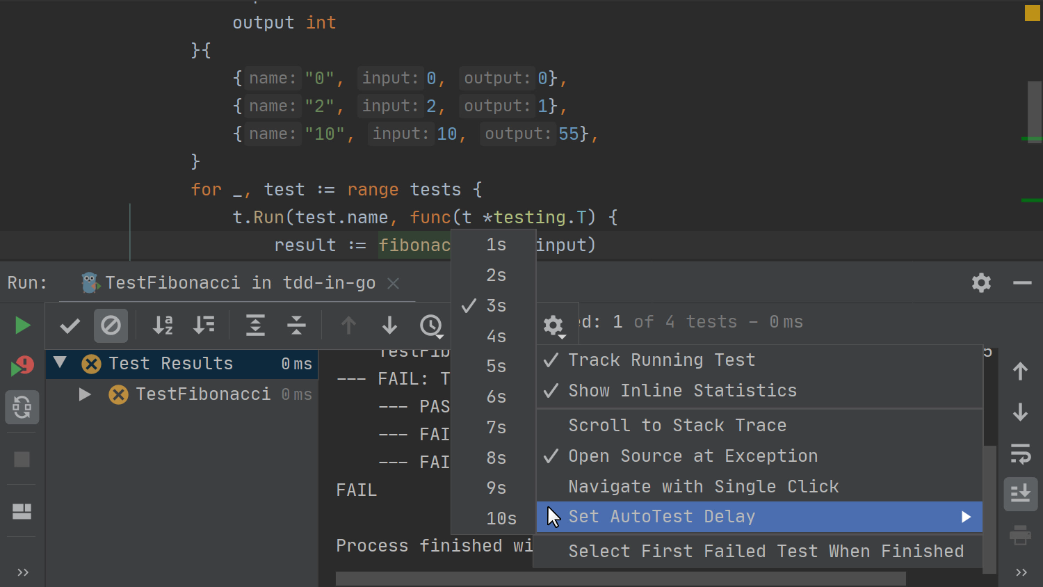 TDD in GoLand - 07 - Toggle automatic running of tests
