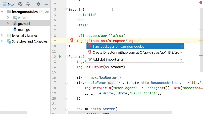 Using Go Modules - 09 - adding a dependency when vendoring