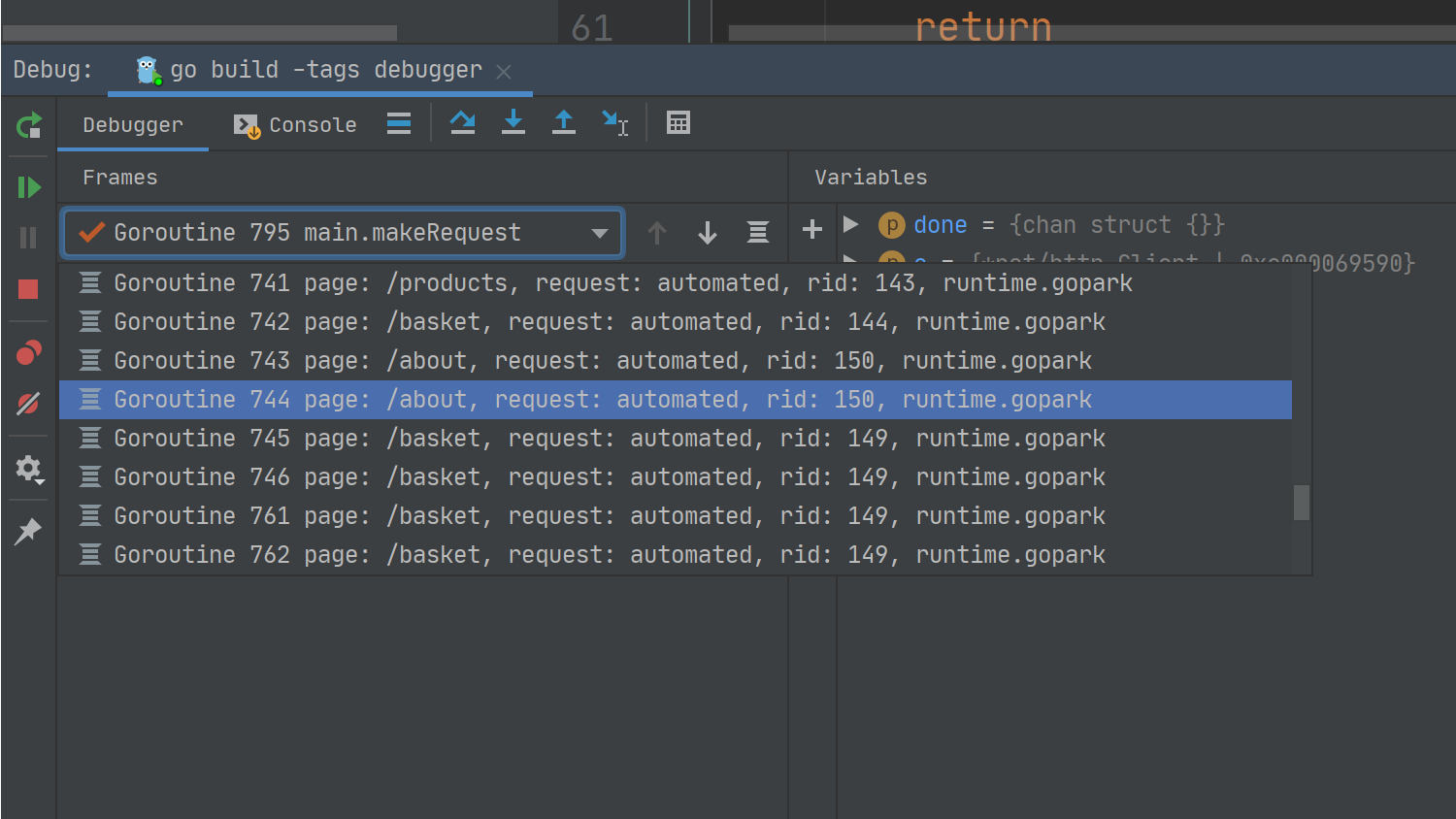 debugger with labels