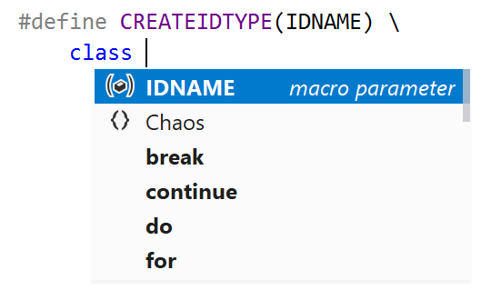 Completion in macro definitions