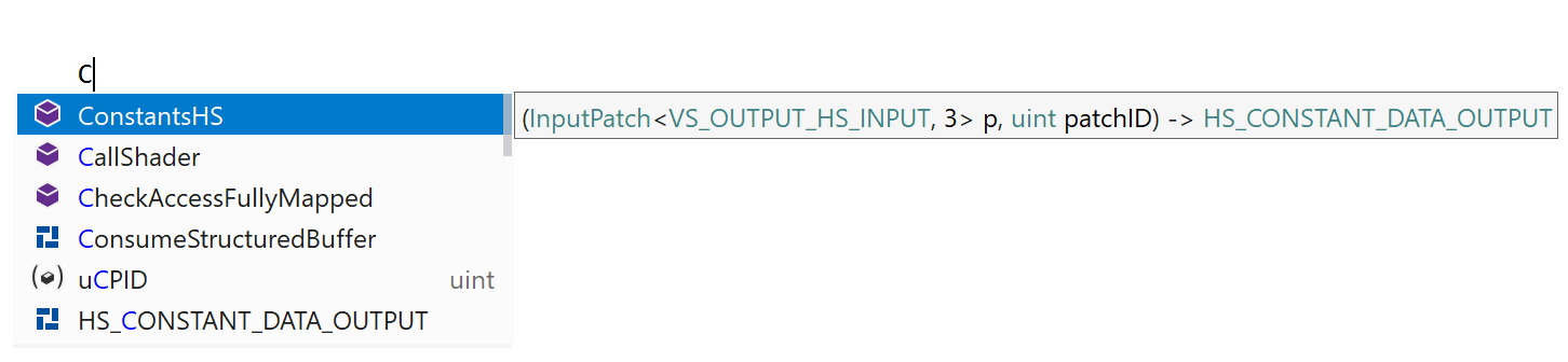 HLSL: code assistance