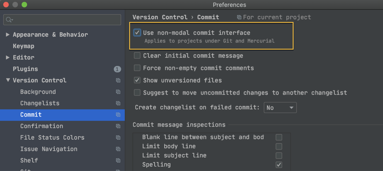 Commit preferences