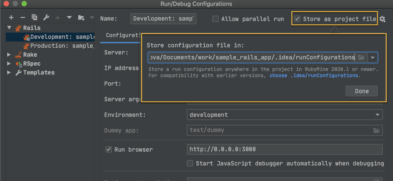 Sharing run configurations