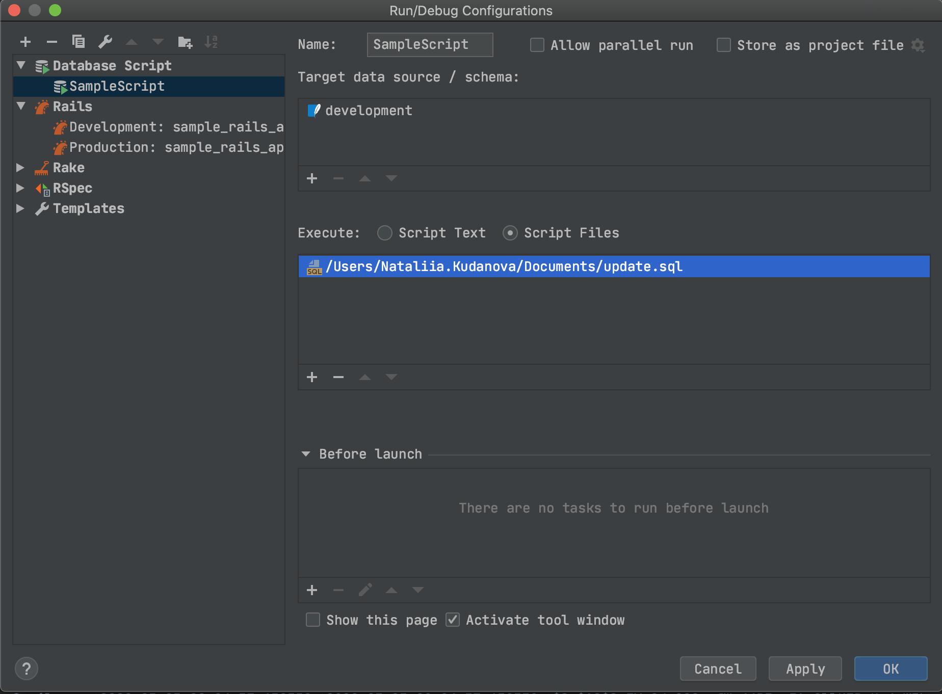 DB scripts in run configurations