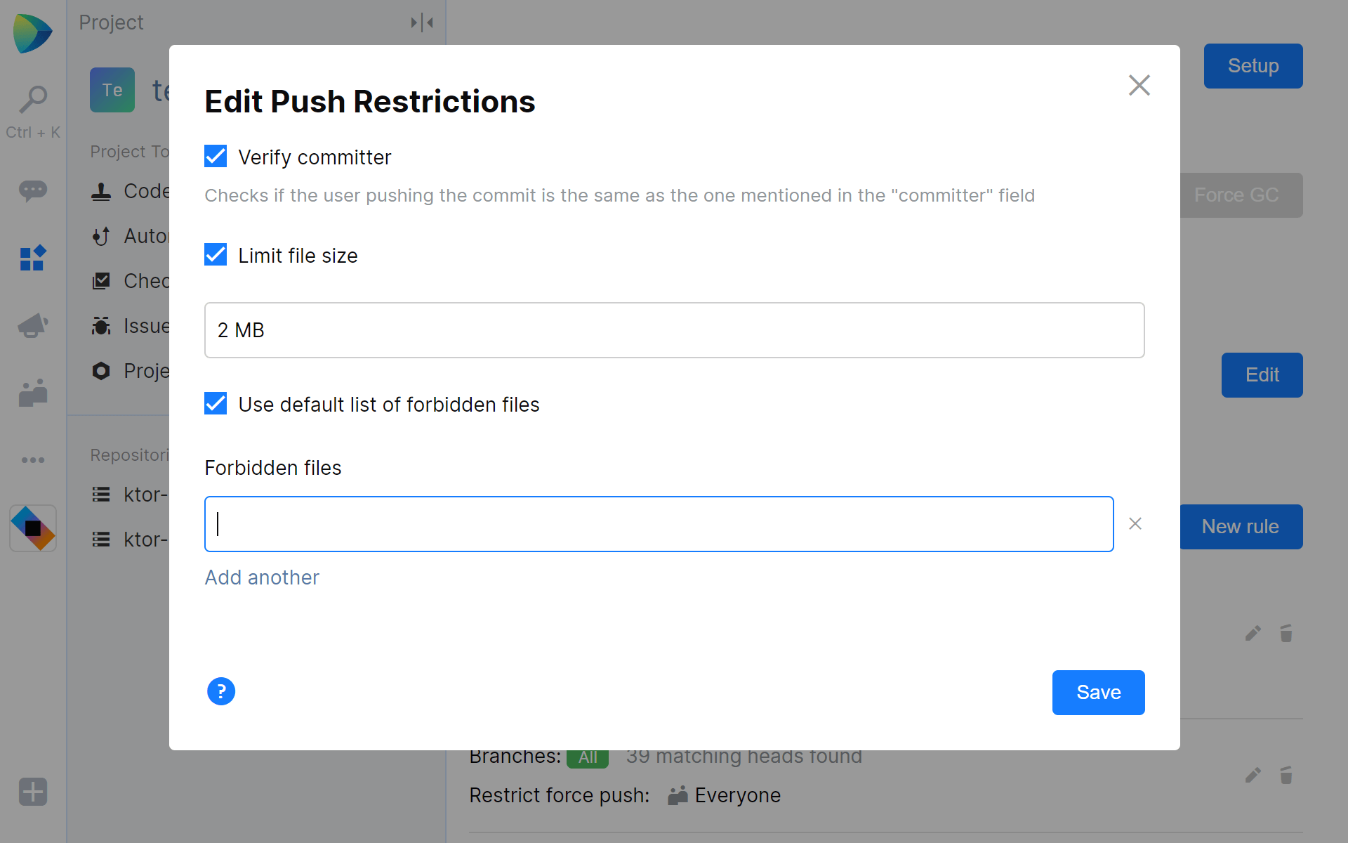 Push restrictions in Space Git repositories