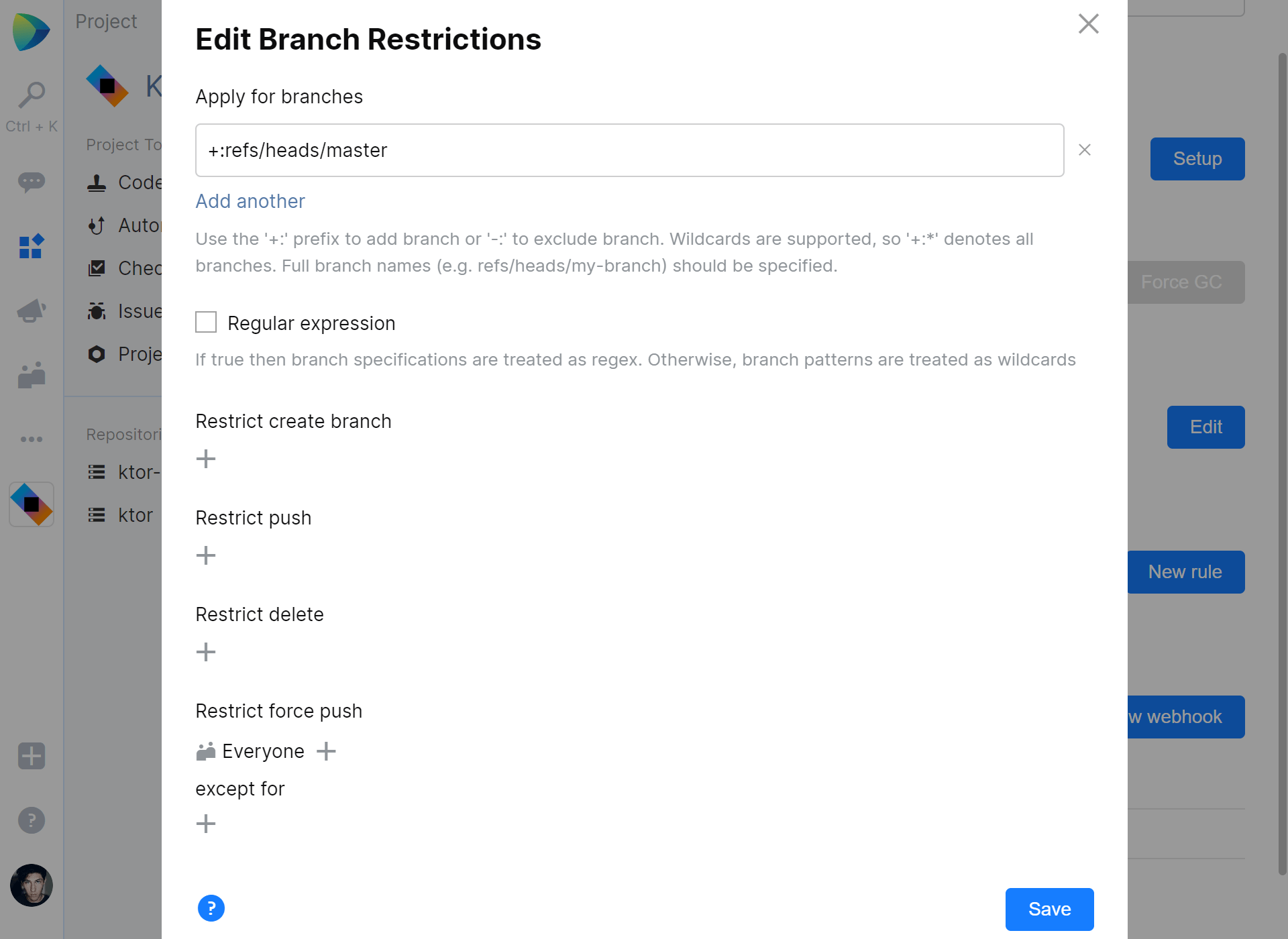 Restrict force push to Git repository in JetBrains Space