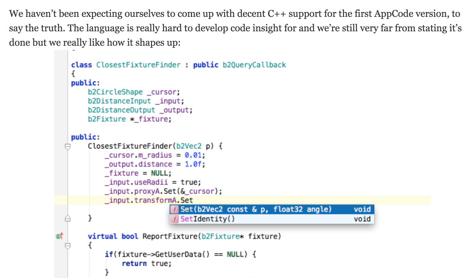 Prise en charge de C++ par AppCode