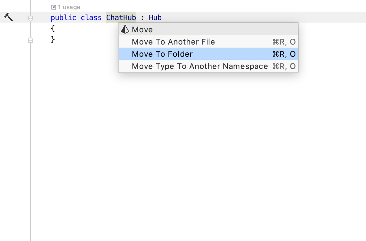 Move a hub class to its own file