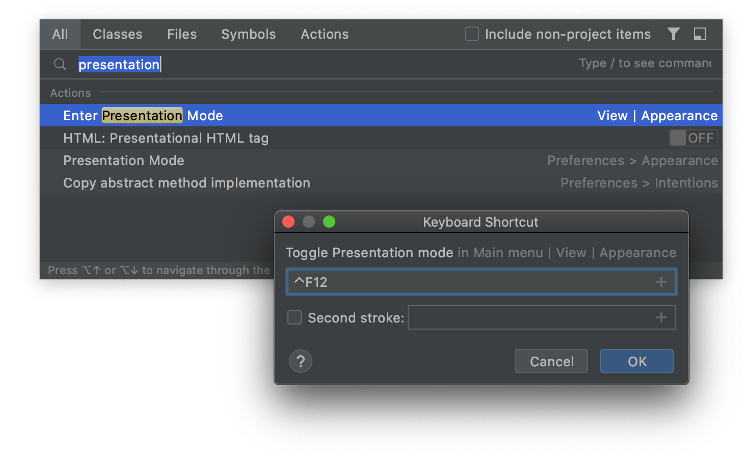 Add a shortcut to toggle Presentation Mode