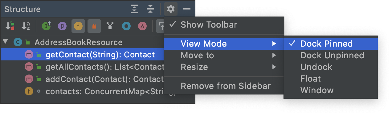 Tool window view modes