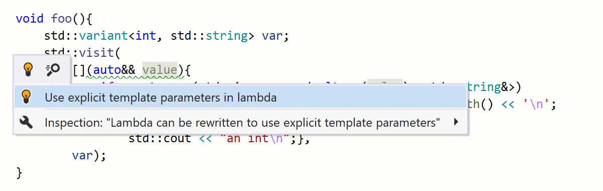 Lambda can be rewritten to use explicit template parameters