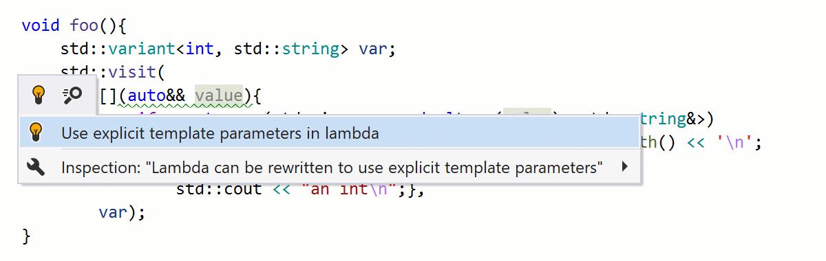 Une lambda peut être réécrite pour utiliser des paramètres de modèle explicites