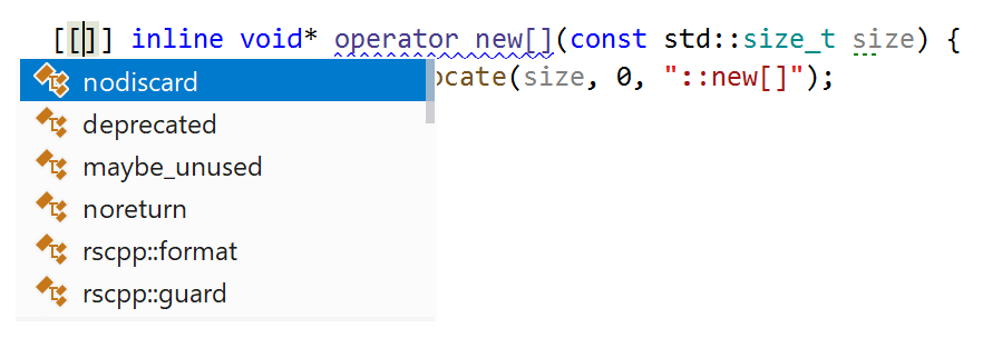 The completion list now suggests standard C++ attributes