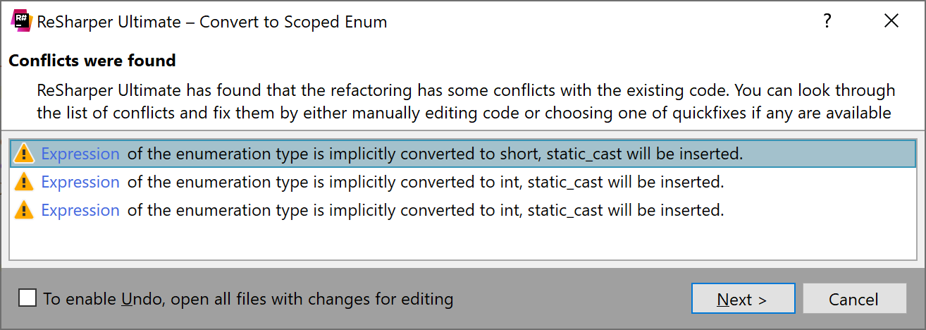 Convert to Scoped Enum: conflicts