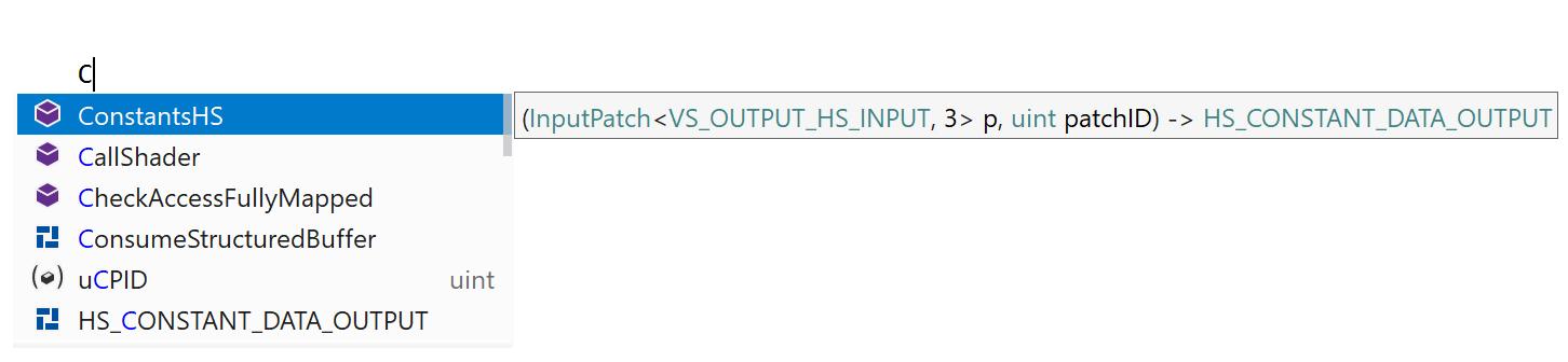 HLSL: code completion