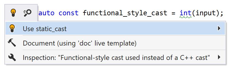 Cast de style fonctionnel utilisé à la place d'un cast C++