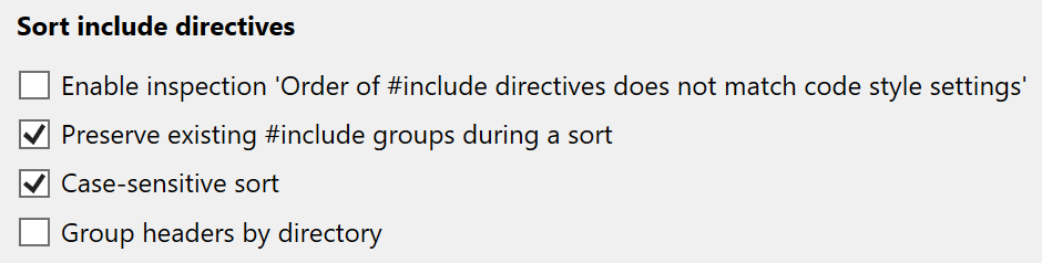 Sort include directives