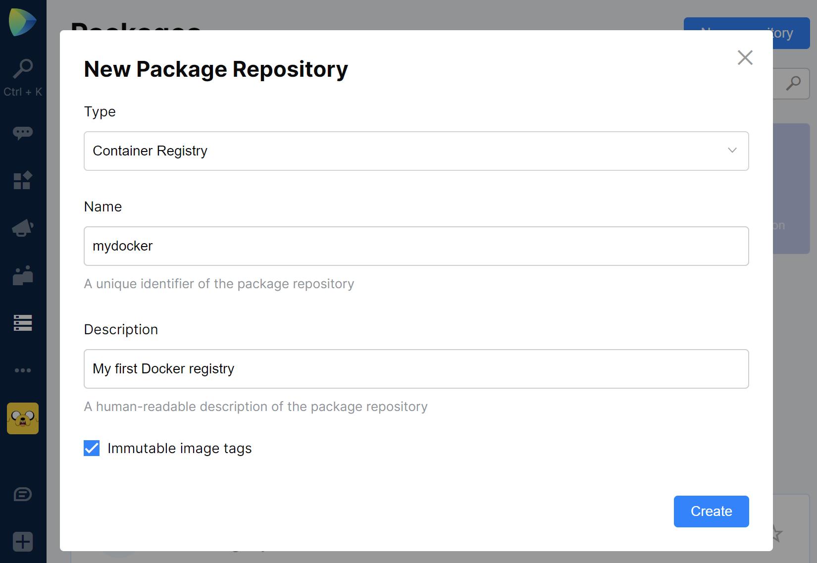 Space Packages. Create new Docker registry