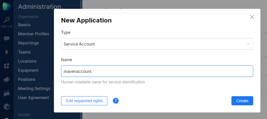 JetBrains Space. Create service account