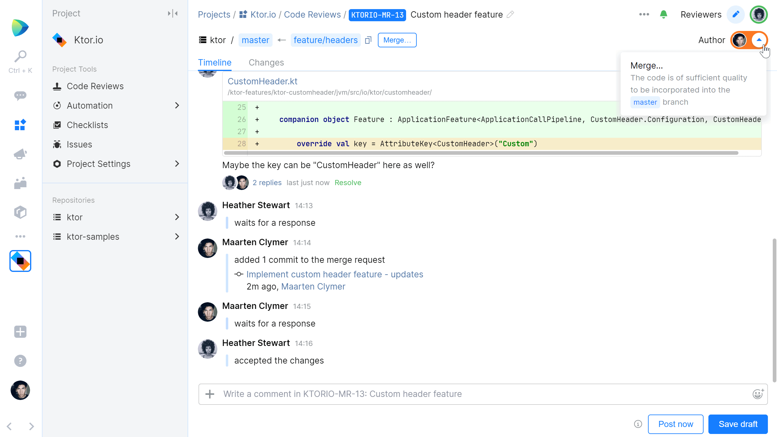 Merge changes once all code looks good and comments are resolved