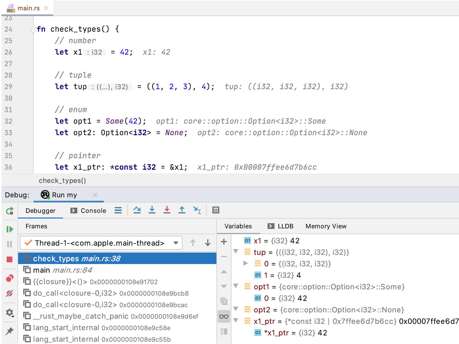 LLDB types rendering