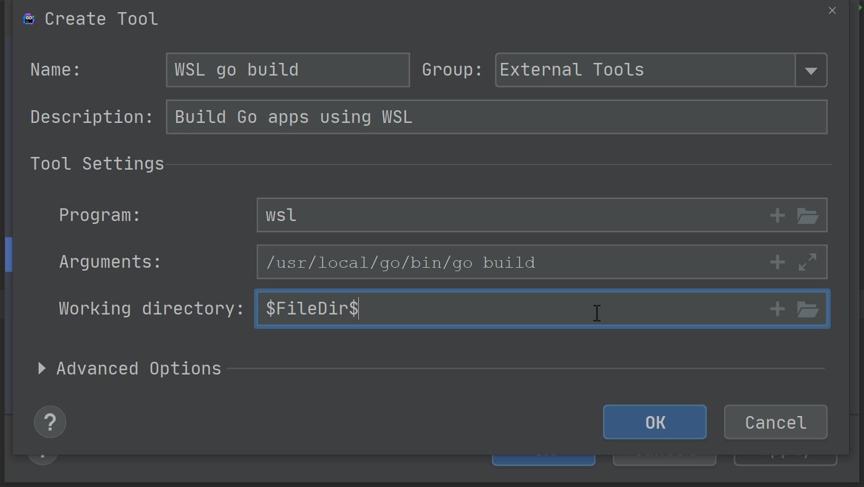 configure go build in wsl