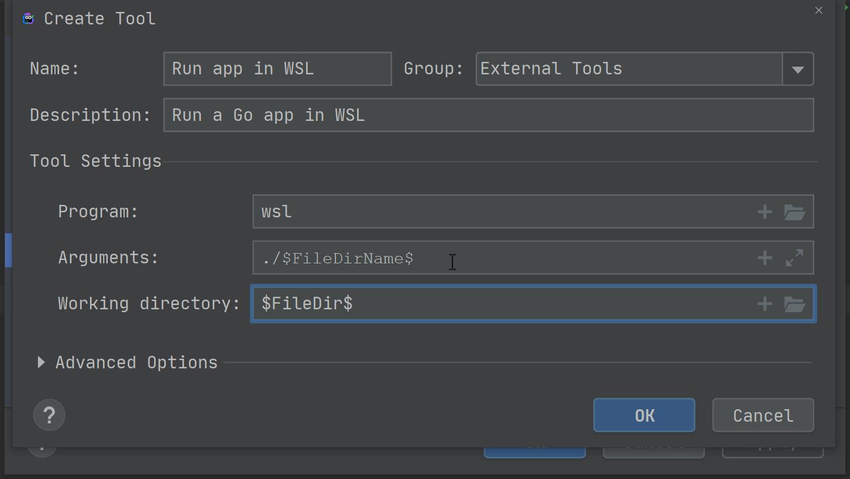 configure run a go app in wsl