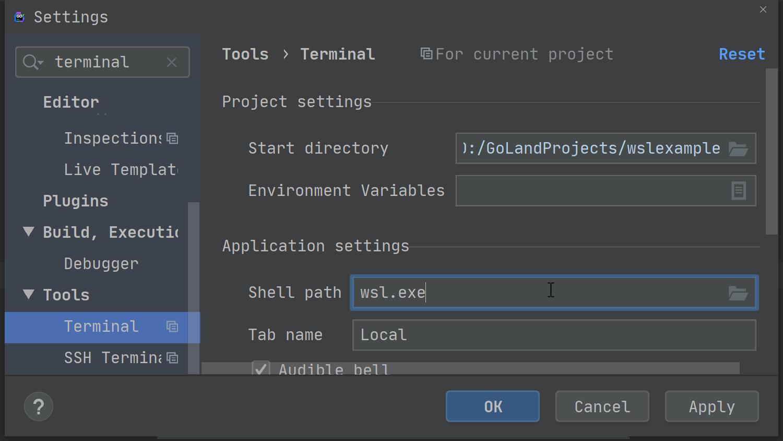 wsl as default terminal