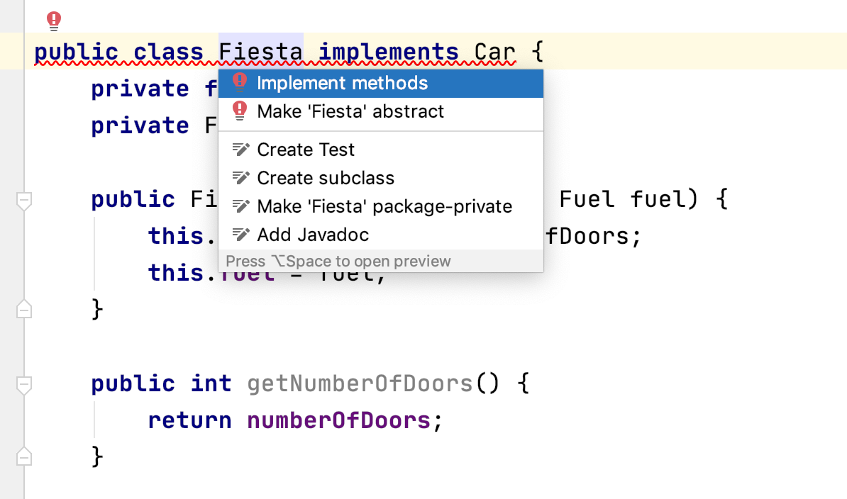 IntelliJ IDEA offers to generate the methods from an interface