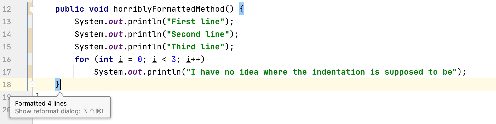 Screenshot of code after formatting