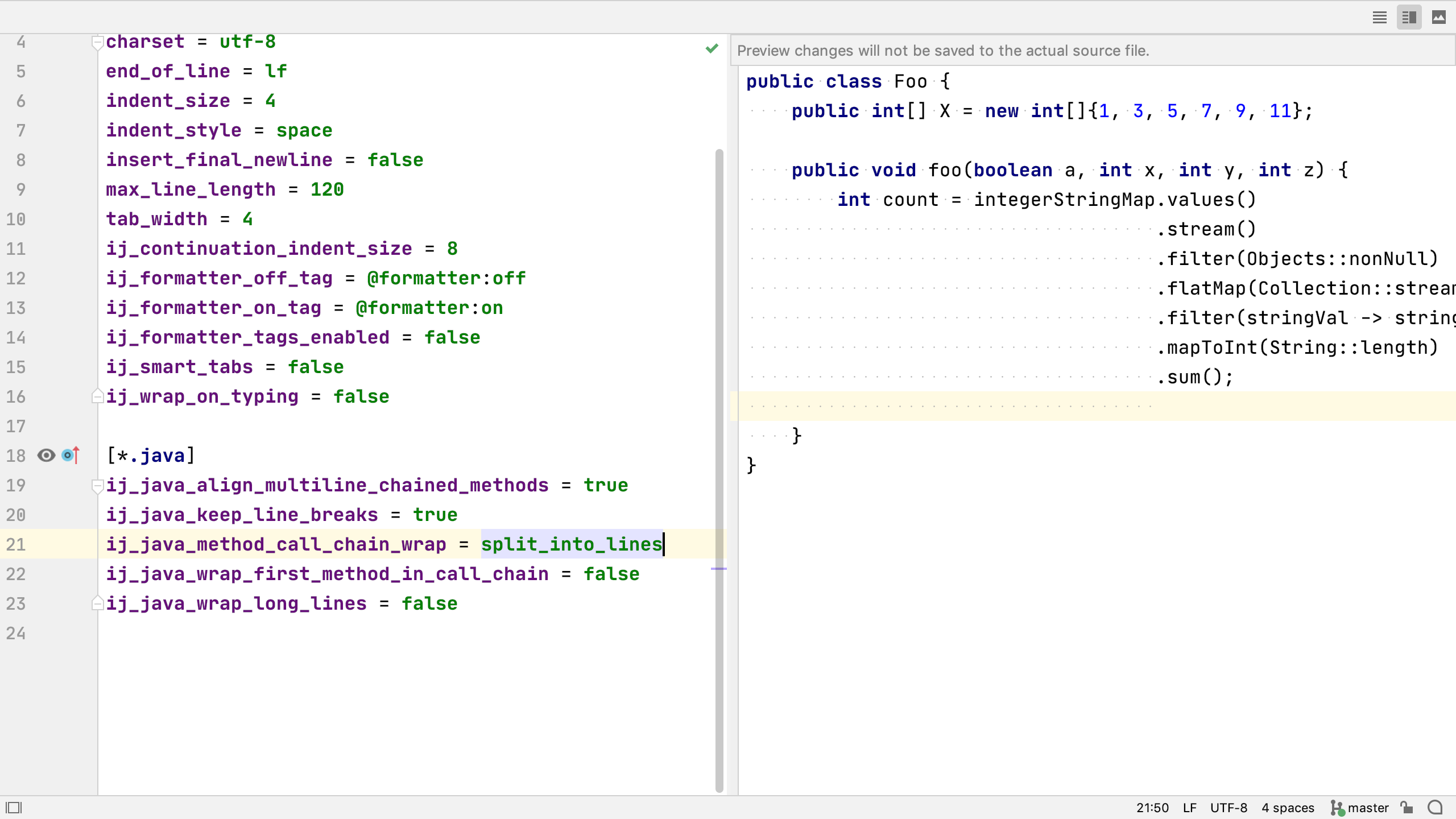 Screenshot of EditorConfig preview
