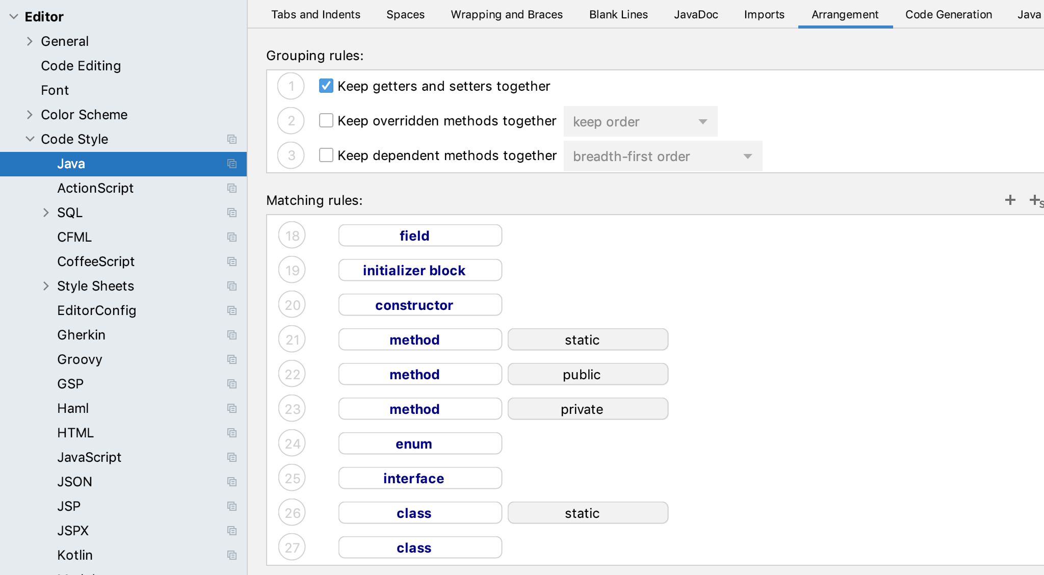Screenshot of settings for arranging public methods above private methods