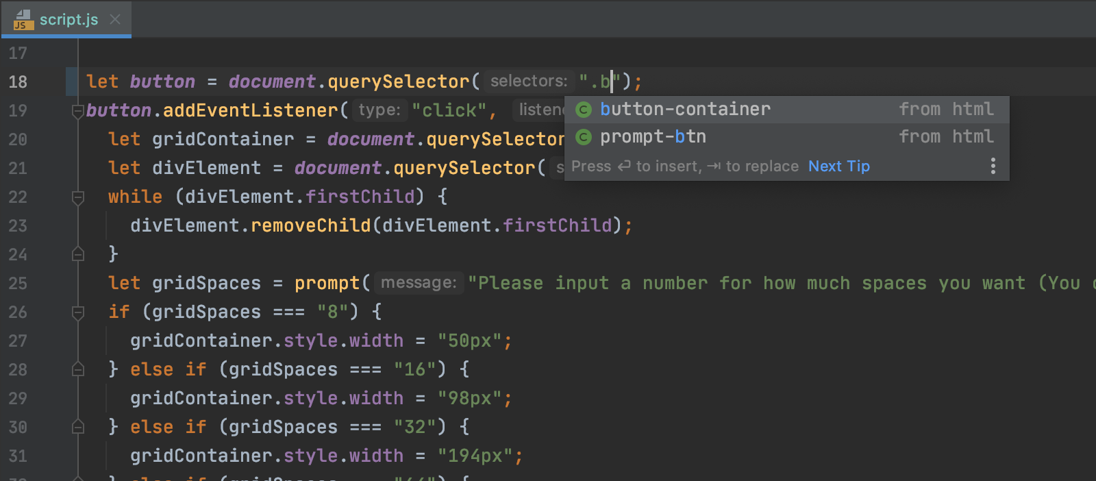 completion-for-queryselector