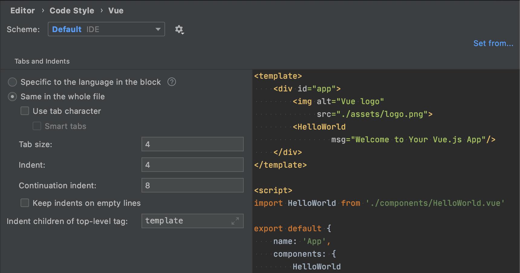 vue-code-style-settings