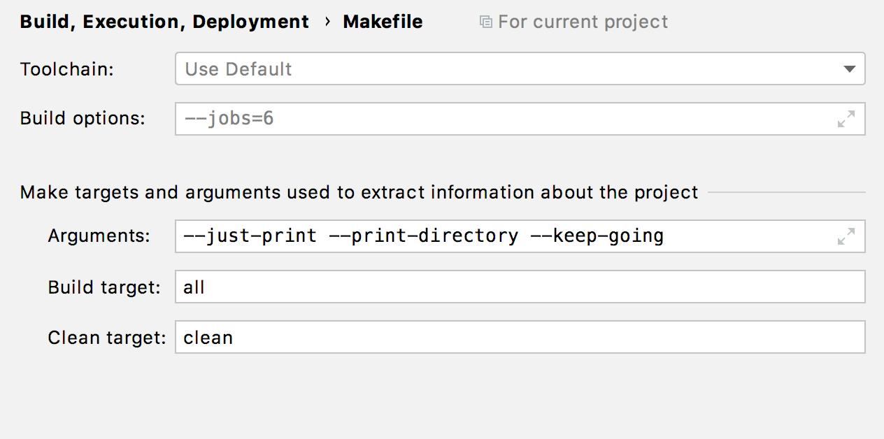 Makefile settings